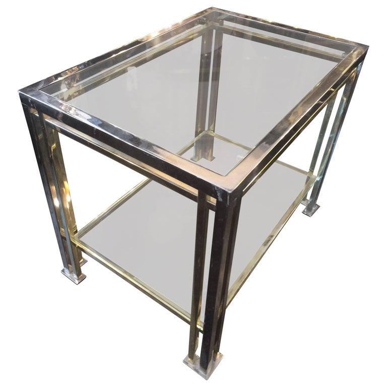 Romeo Rega Brass and Chrome Side Table