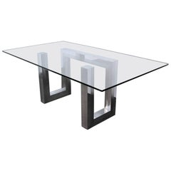 Incredible Mid-Century Chrome Base Dining Table in the Style of Paul Evans Ello