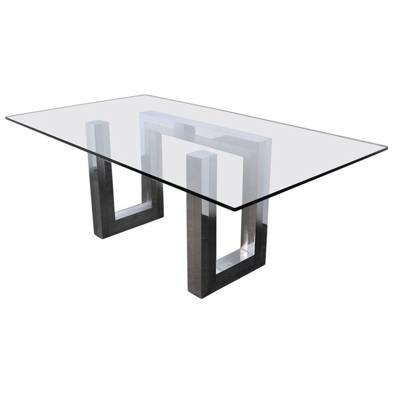 Incredible Mid-Century Chrome Base Dining Table in the Style of Paul Evans Ello For Sale
