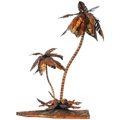 Unique Copper Sculpture of a Palm Tree Group by Michael Crawford