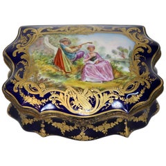 Antique Sevres Royal Imperial Cobalt Jewelry Box