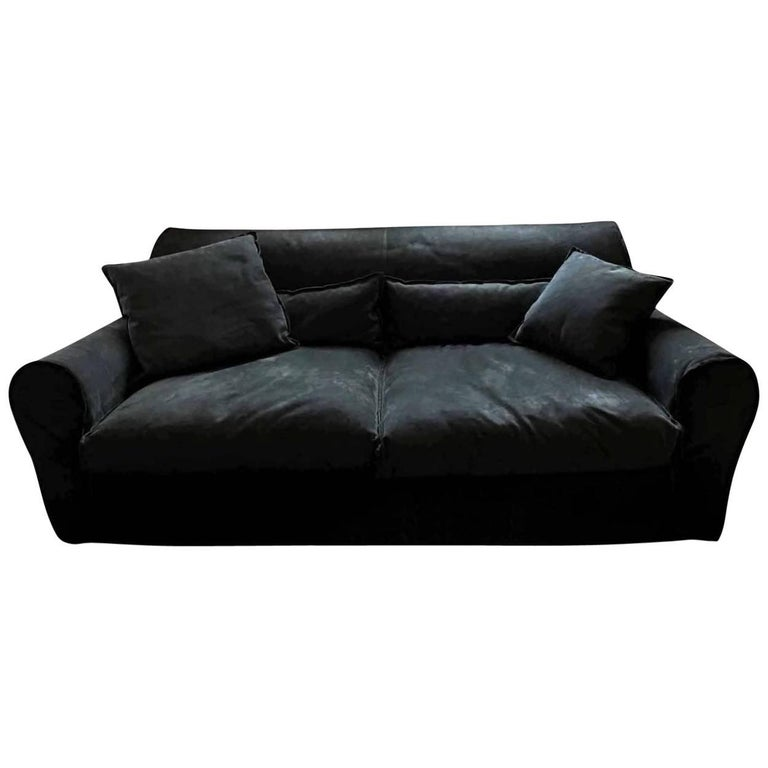 """Sofa """"Housse"""" by Manufacturer Baxter Finished in Roughout Leather"""