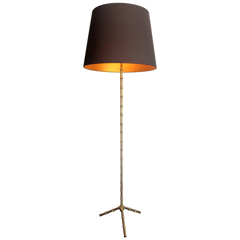 Maison Baguès Style Brass Faux Bamboo Floor Lamp