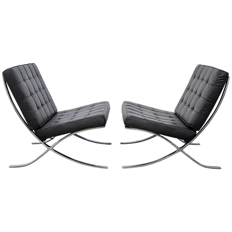 Pair Of Barcelona Black Leather Lounge Chairs By Mies Van Der Rohe