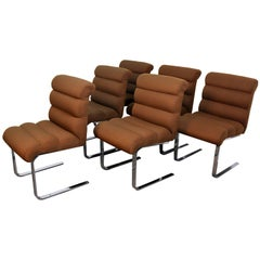 Six Channel Upholstered Dining Chairs on Chrome Cantilever Base Mid-Century
