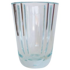 Clear Octagonal Orrefors Blown and Cut-Glass Vase. Signed Orrefors 1946, Sweden