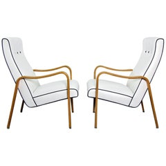 Pair of Thonet Bentwood Armchairs with New Upholstery in Contrast Piping