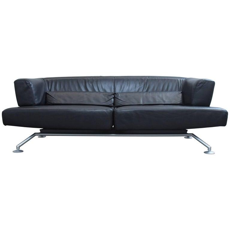 COR Circum Designer Sofa Black Leather Three-Seat Couch Function ...