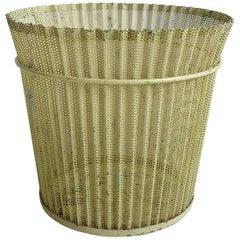 Large Mathieu Matégot Yellow Metal Wastepaper Basket