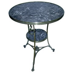 Black Marble Gueridon or Side Table on Wheels