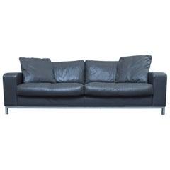 Machalke Designer Sofa in Grey Leather Three-Seat Couch, Modern