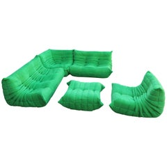 Ligne Roset Togo Set Re-Upholstered in Funky Green Fabric