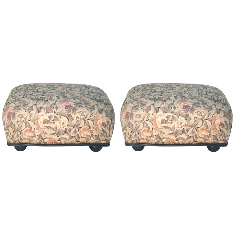 Ronn Jaffe Tapestry Woven Linen Pair Ottoman Foot Stools-Leather Welting