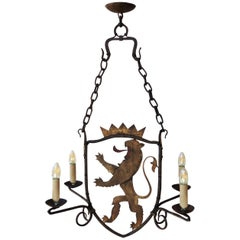 French Iron and Painted Tole Lion Chandelier, circa 1900