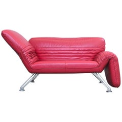 De Sede Designer Sofa Red Leather Two Seat Couch Function Modern