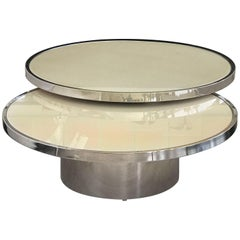 Swivel Coffee Table With High Polished Steel Base