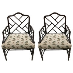 1940s Pair of Chinese Chippendale Chairs