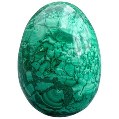 Large Belle Epoque Russian Carved Malachite Egg