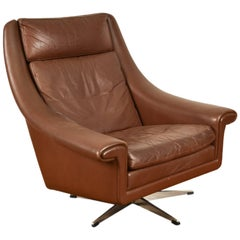 Aage Christensen Model Ambassador High Back Lounge Chair in Chocolate Leather