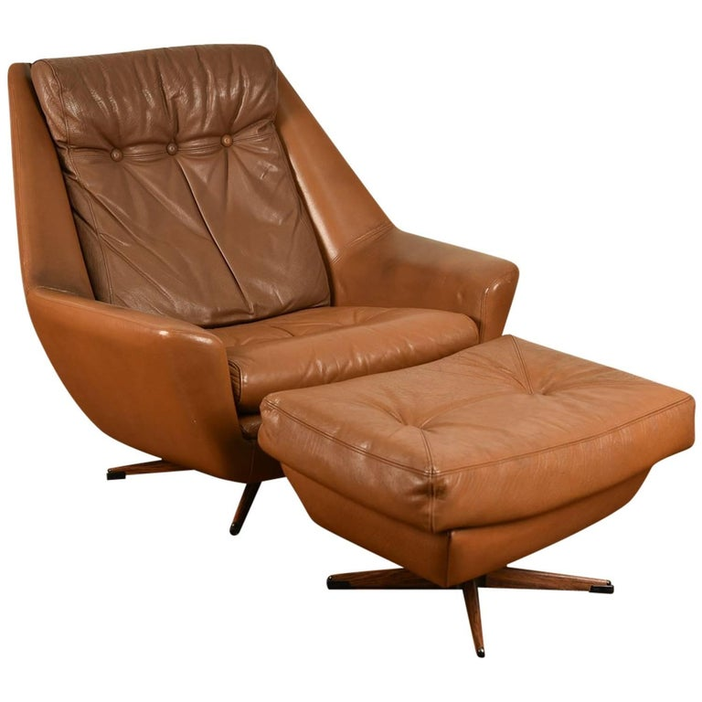 Danish Mid-Century Leather Lounge Chair and Ottoman