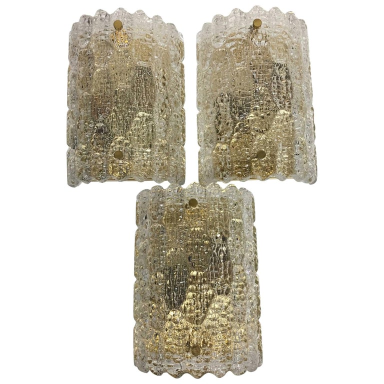 Three Carl Fagerlund for Orrefors Glass Wall Sconces For Sale