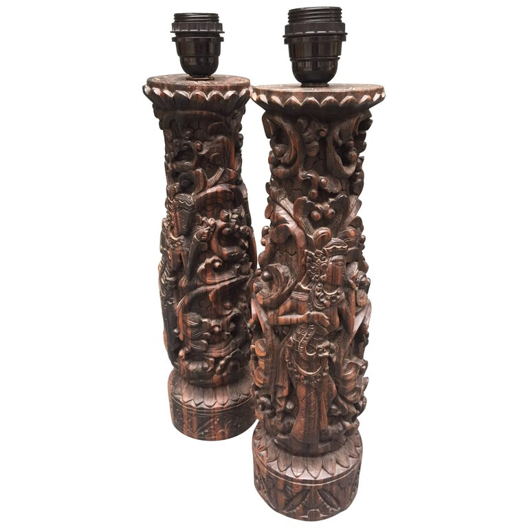 two vintage indonesian table lamps hand carved in zebrawood for sale at 1stdibs. Black Bedroom Furniture Sets. Home Design Ideas