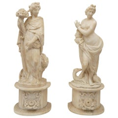 Pair of 19th Century Carved Alabaster Statues of Classically Draped Females