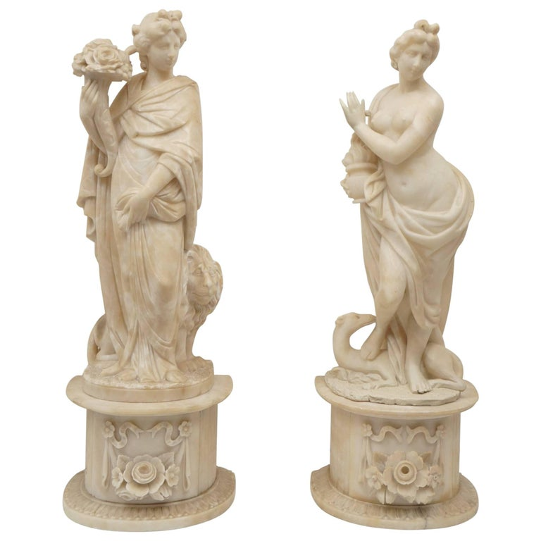 Pair of 19th Century Carved Alabaster Statues of Classically Draped Females 1
