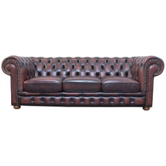 Original Chesterfield Leather Sofa Brown Three-Seat Couch Vintage Retro