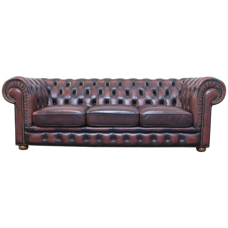 Original Chesterfield Leather Sofa Brown Three Seat Couch