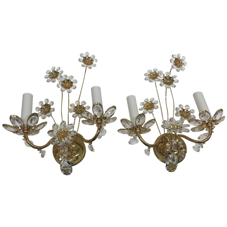 "Pair of Vintage Gold-Plated ""Palwa"" Crystal Flower Sconces For Sale"