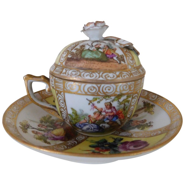 19th Century Meissen Porcelain Chocolate Cup, Lid and Saucer