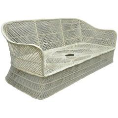 Russell Woodard Woven Spun Fiberglass Sculptural Sofa Sunroom Patio Furniture