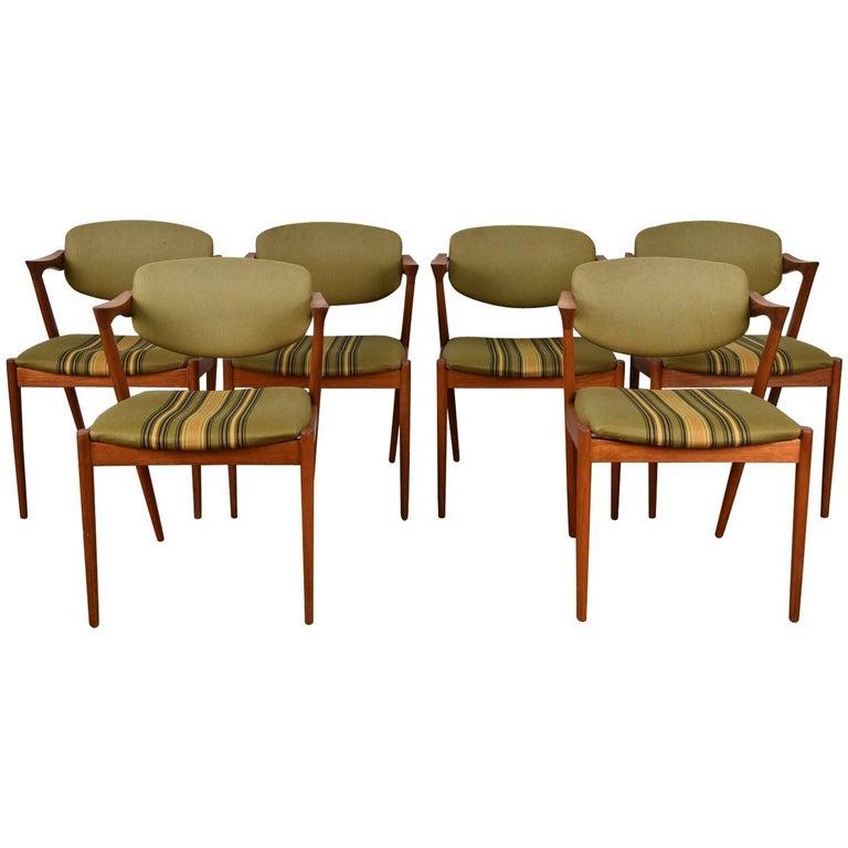 Set of Six Kai Kristiansen Model 42 Z Teak Dining Chairs For Sale