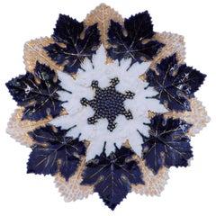 Late 19th Century Flow Blue Meissen Porcelain Maple Leaf Plate