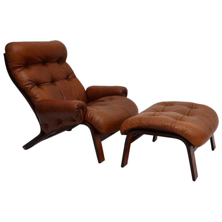 Danish Retro Rosewood And Leather Armchair And Stool