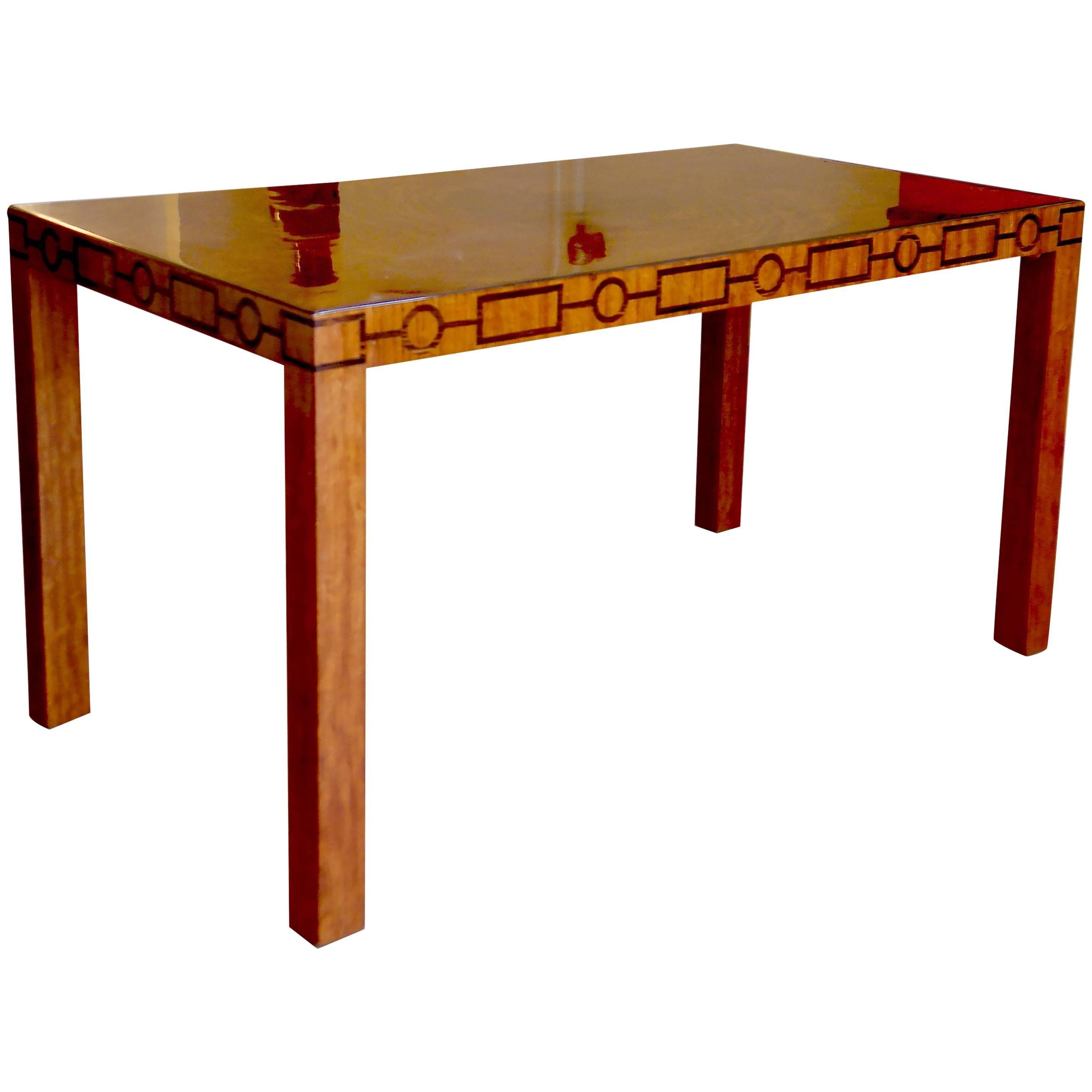 Very Fine Swedish Modern Classicism Coffee Table With Geometric Inlay  Frieze 1