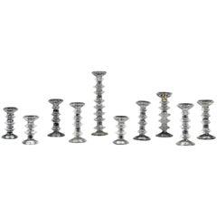 Set of TEN Timo Sarpaneva for Iittala Festivo Glass Candlesticks