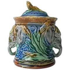 19th Majolica Elephant Tobacco Jar Onnaing
