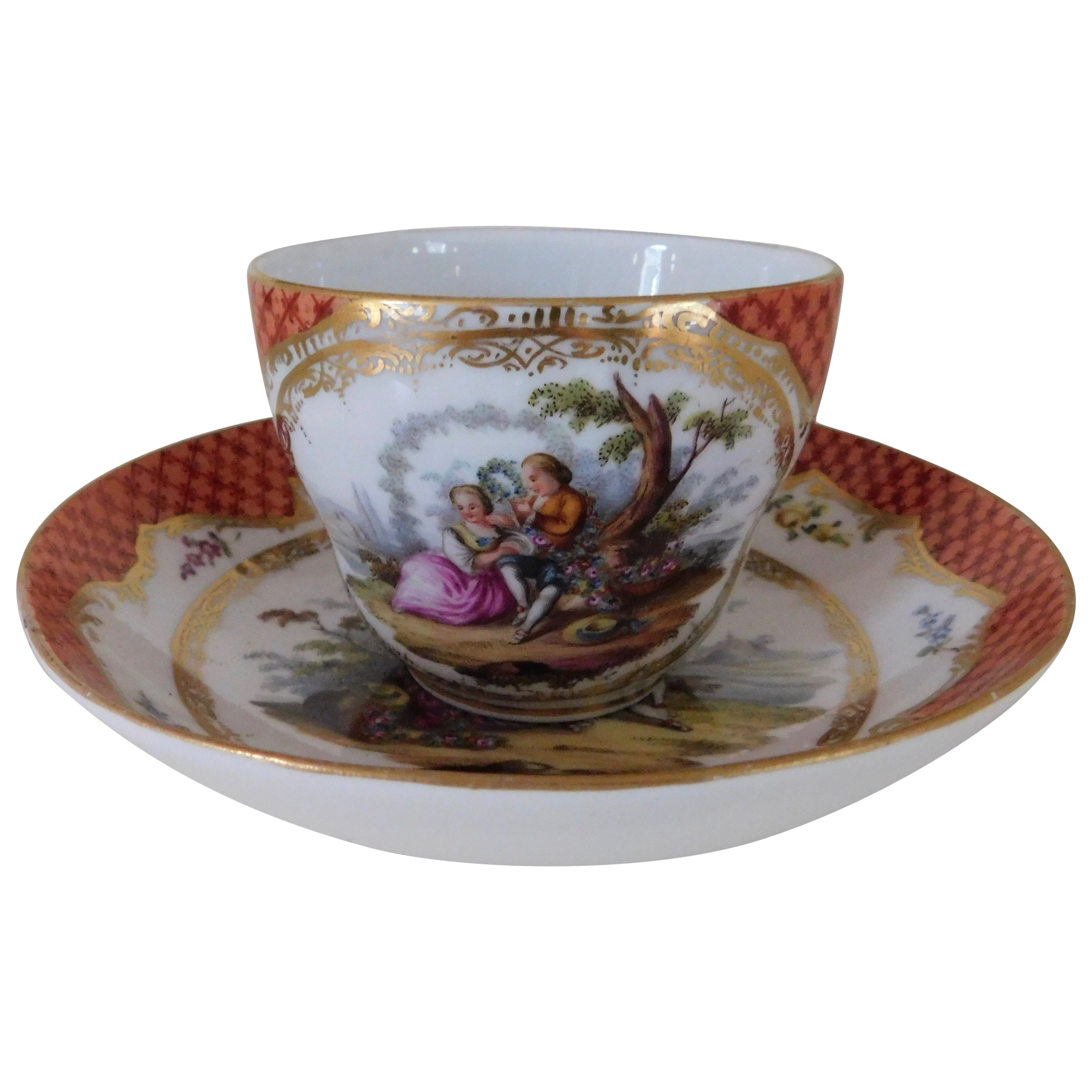 19th Century, Meissen Porcelain Cup and Saucer