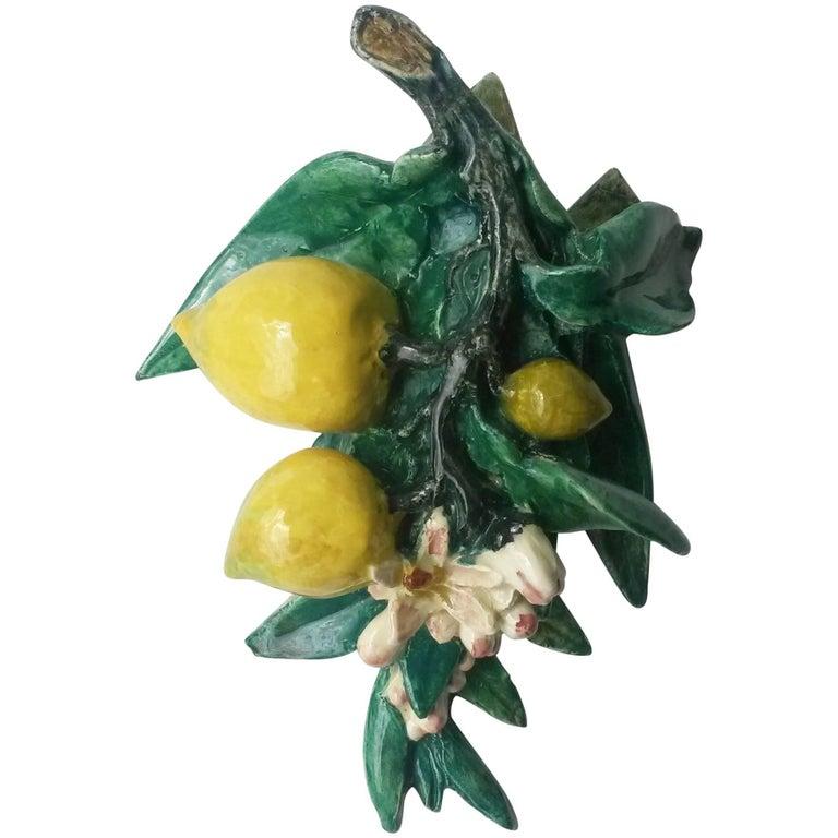 Rare Majolica Lemons Applique Delphin Massier, circa 1890