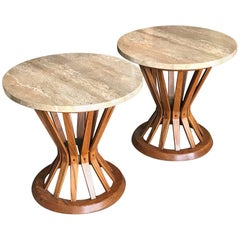 Pair of Edward Wormley Dunbar Sheaf of Wheat Tables with Travertine Tops