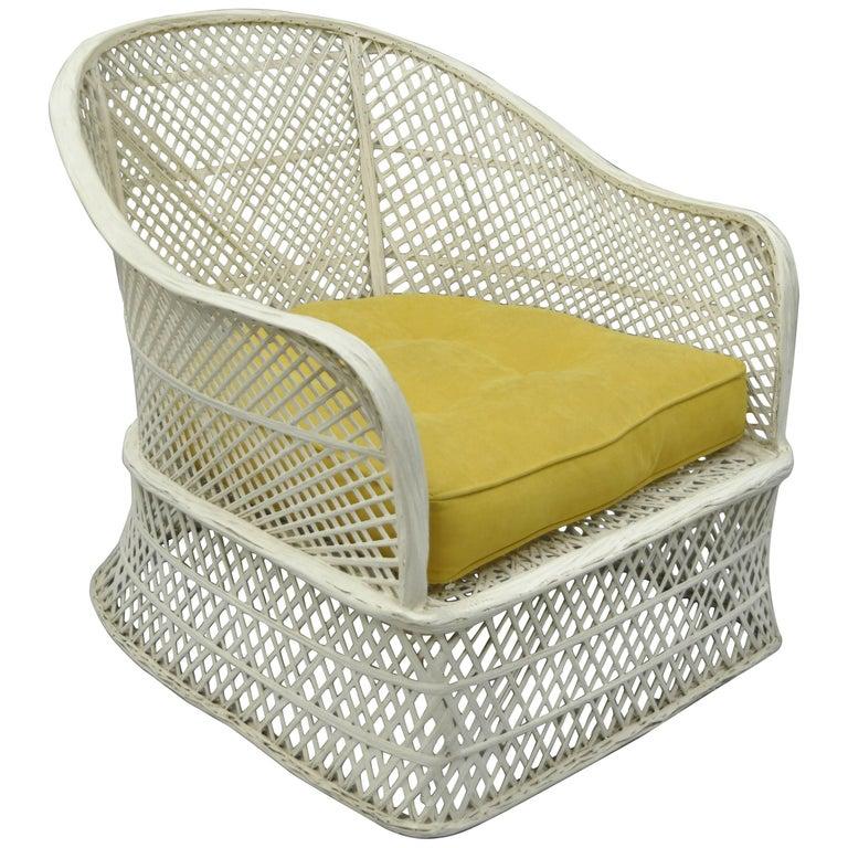 Russell Woodard Woven Spun Fiberglass Barrel Back Patio Lounge Club Chair
