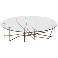 Gallotti & Radice Connection Table in Hand Burnished Brass and Extralight Glass