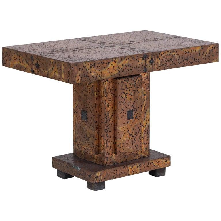 Embossed Aluminium Side Table by Arenson Studio, circa 1970