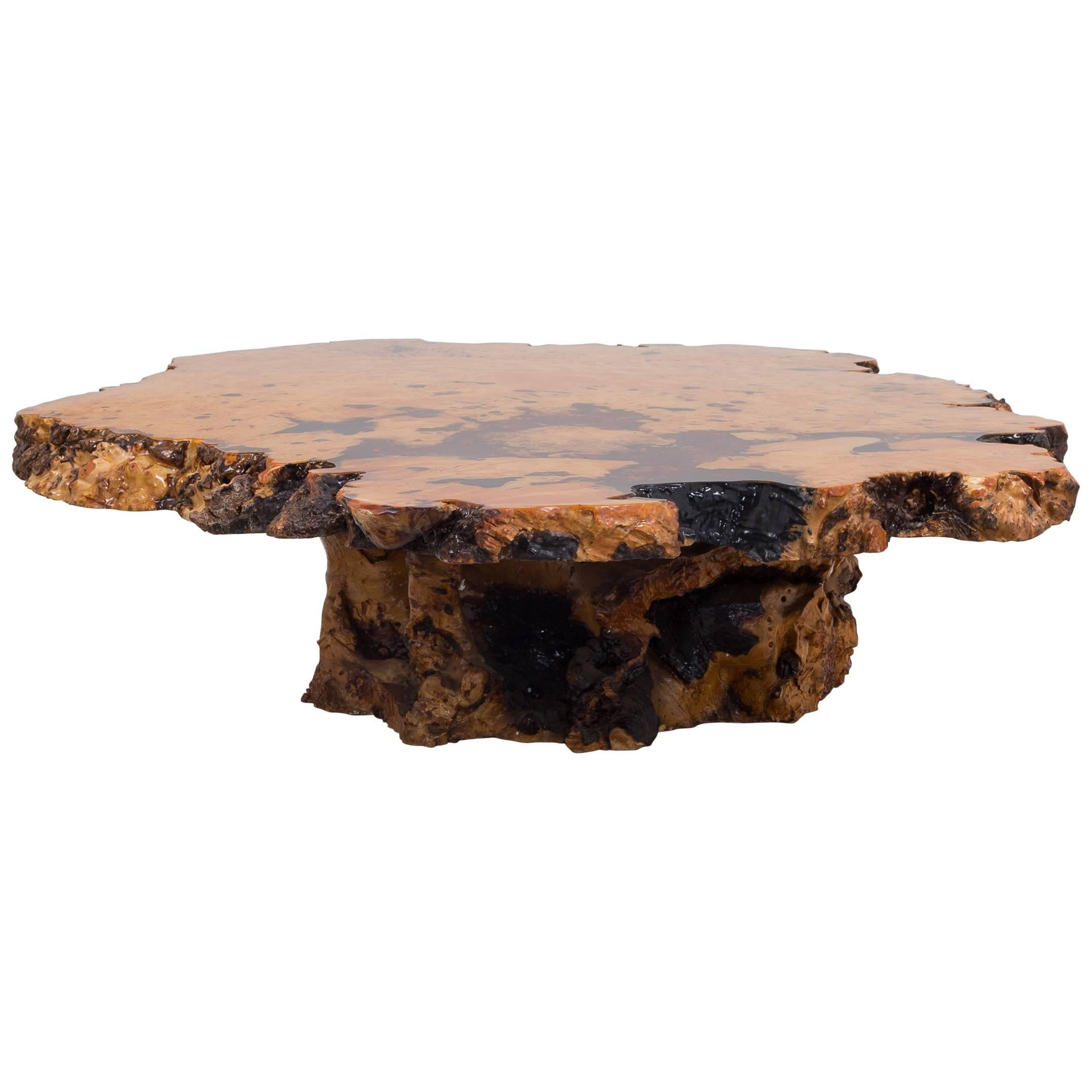 Californian Redwood Coffee Table With Amber Inlay, 1960s