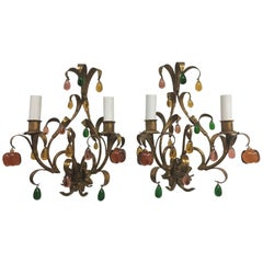 Pair of Florentine Style Gilded Glass Drop Sconces Vintage, Italy