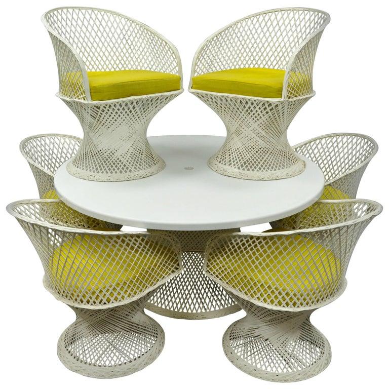 Seven-Piece Russell Woodard Woven Spun Fiberglass Patio Dining Set