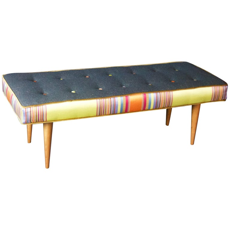 14-Button Bench in Bold Stripe and Gray Flannel