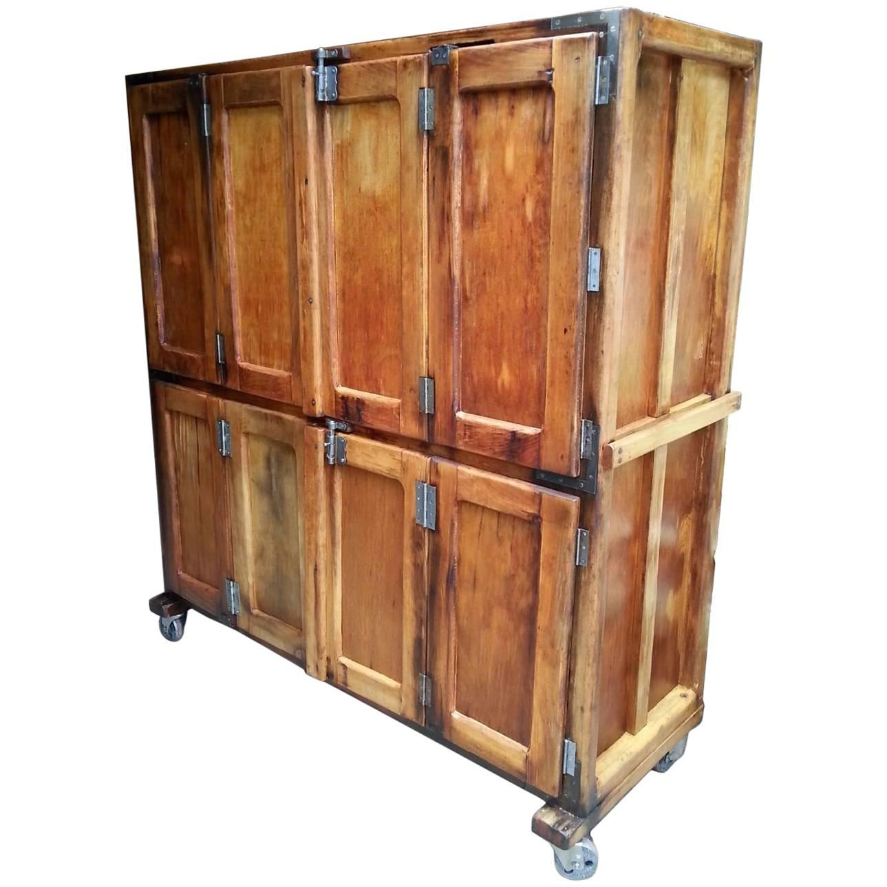 Antique French Bakery Cabinet or Locker Unit For Sale at 1stdibs